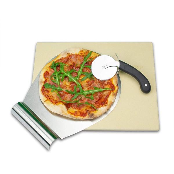 RADOLEO® Pizzastein L aus Cordierit | Premium Set für Back-Ofen und Grill | 38x30x1,3cm | inkl. Pizzaroller u. Pizzaschieber
