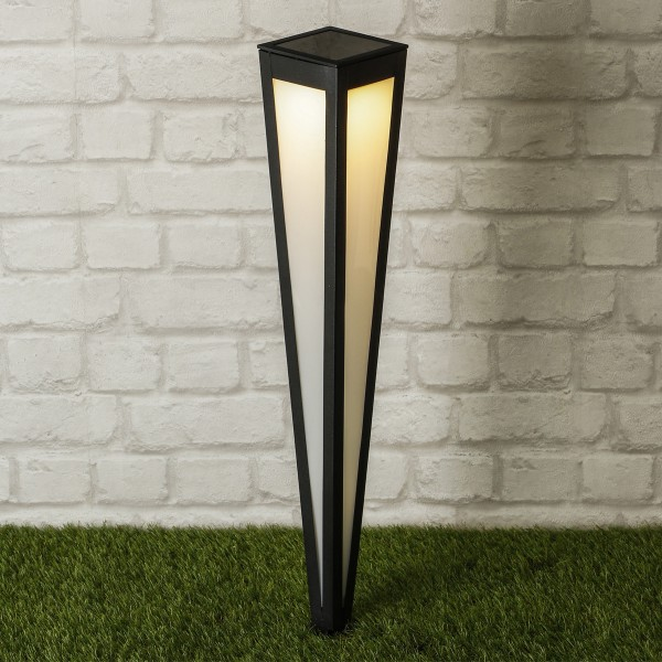 LED Solar Gartenlampe - 10 x 10 x 75cm - 1 kaltweiße LED - schwarz