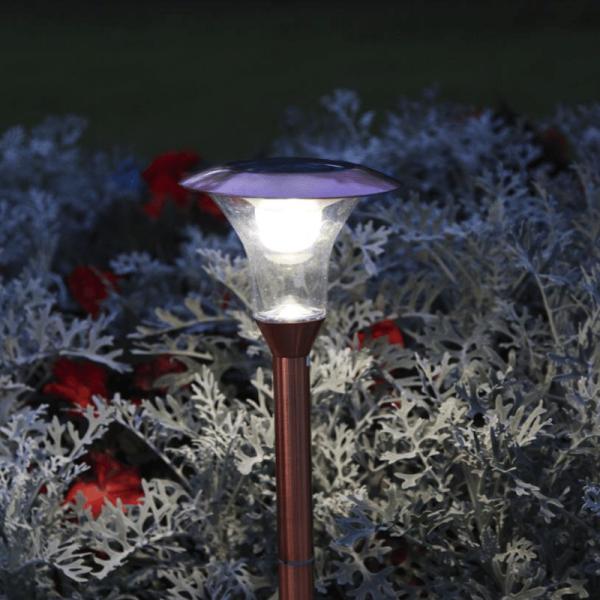 "LED Solar Wegleuchte ""Porto"" - Edelstahl - 1 warmweiße LED - 100lm - H: 51cm - kupferfarben"