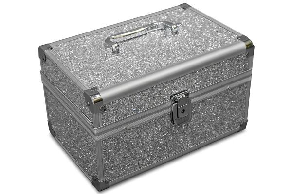 MARELIDA® Schmuckkoffer in Silber mit Glitzeroptik | Premium Schmuckkästchen für Schmuck & Co.
