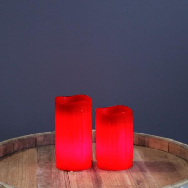 "LED Kerze ""Drip"" - Echtwachs - flackernde LED - Timer - H: 12,5cm - rot"