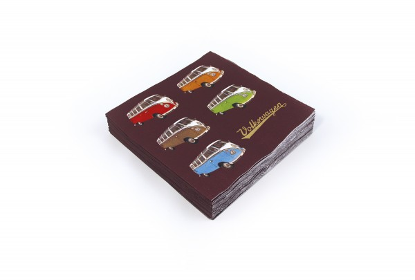 "VW Collection Serviette ""VW T1 COLORED SAMBA"" - 20er Pack - 16,5x16,5cm - 100% recycling"
