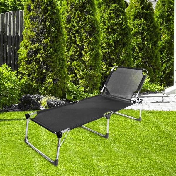 Sonnenliege - Dreibein - 207 x 69,5 x 38,5cm - Schwarz