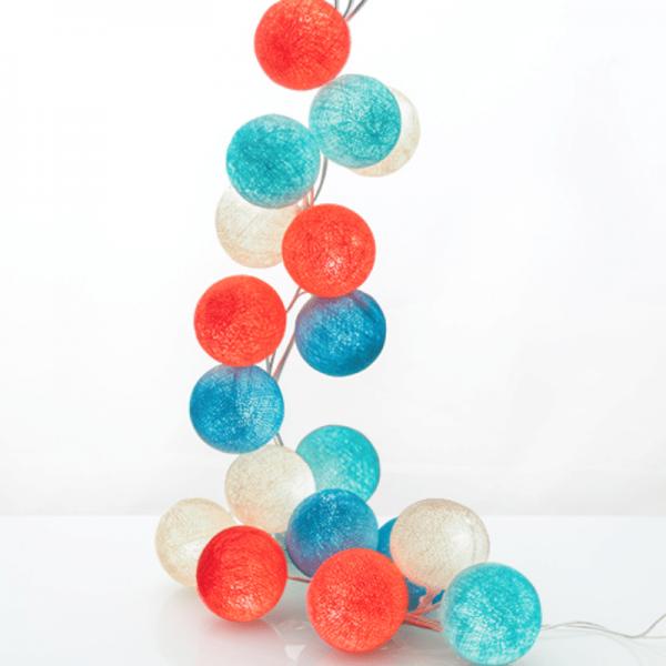 good moods* SUMMERTIME - Ball-Lichterkette mit 35 Stoffkugeln - 35 warmweiße LEDs - Geschenkkarton