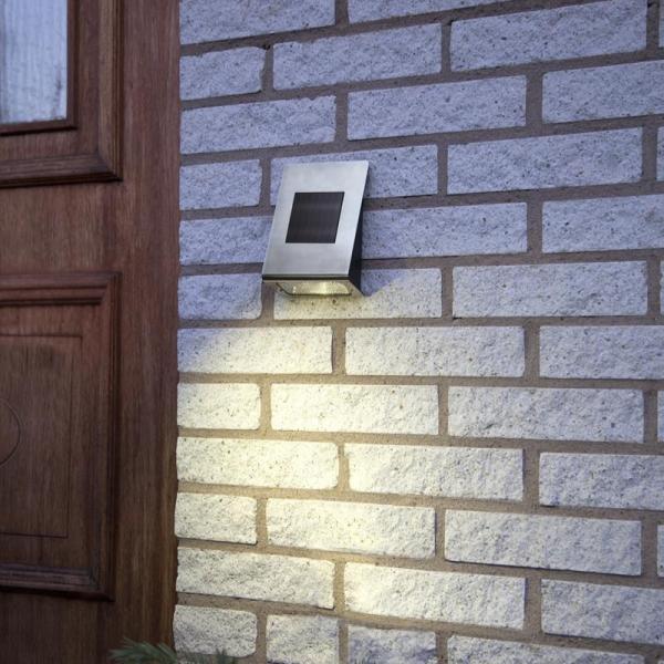 "LED Solar Wandleuchte ""Wally"" - Edelstahl - warmweiße LED - H: 18,5cm - Dämmerungssensor - 20lm"