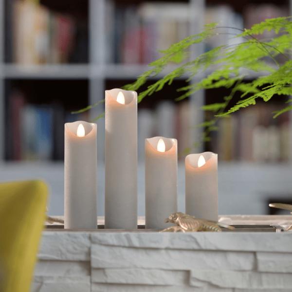 SOMPEX LED Wachskerze SHINE schmal | grau | gefrostet | D: 5cm H: 17,5cm | fernbedienbar | Timer