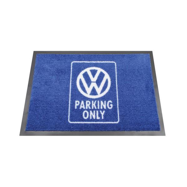 """Fußmatte """"VW PARKING ONLY"""" - 70 x 50cm - 100% Nylon, waschbar, PVC Rücken - MADE IN EU"""