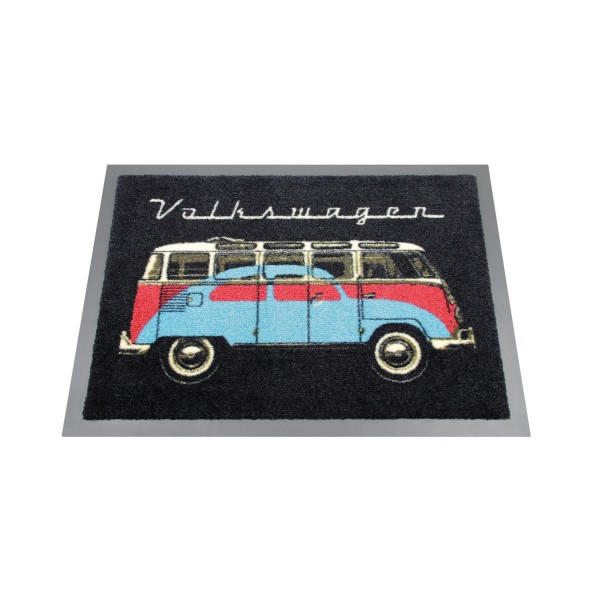 "Fußmatte ""VW Bus & Käfer"" - 70 x 50cm - 100% Nylon, waschbar, PVC Rücken - MADE IN EU"
