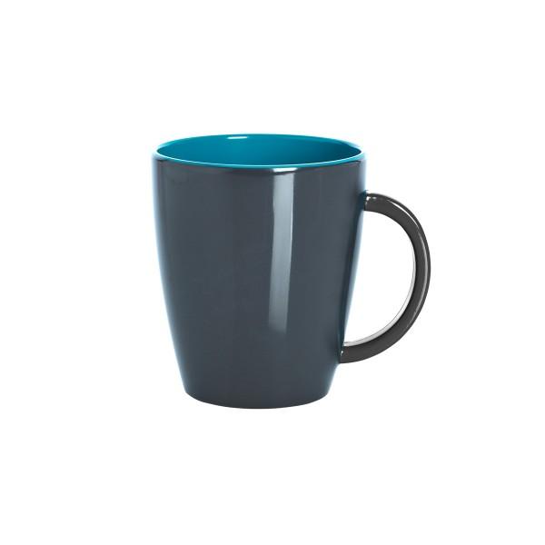 """GIMEX GreyLine """"grau-blau"""" - Henkelbecher 0,35L - bruchfestes Melamin Campinggeschirr"""