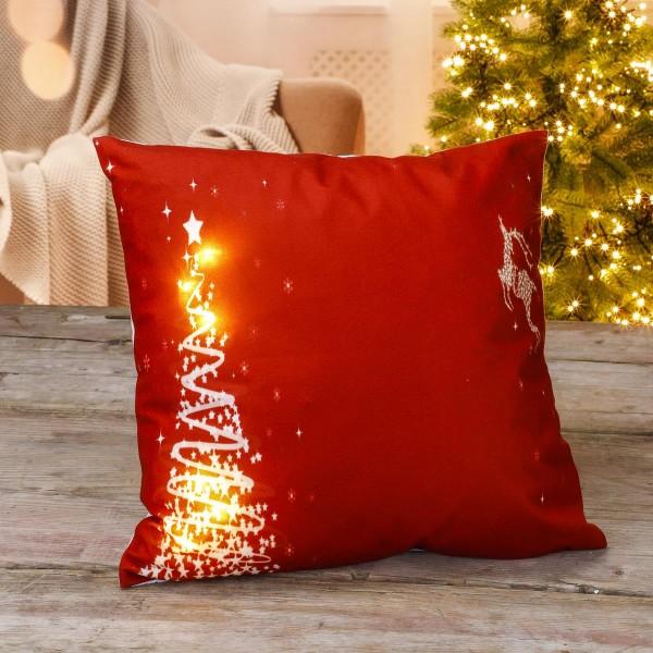 LED Kissen mit Tannendesign - Weihnachtskissen - 6 LED - Batteriebetrieb - 40 x 40cm - rot
