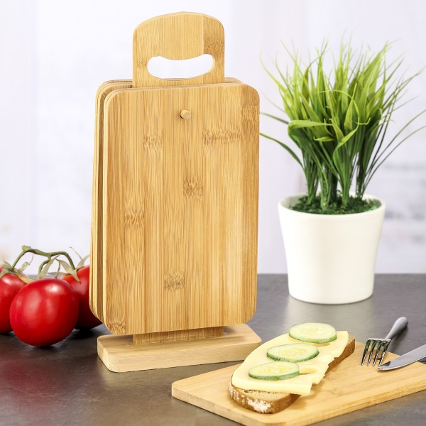 Frühstücksbrett - Bambus - inkl. Holzständer - 22 x 15 x 0,8cm - 6er Set