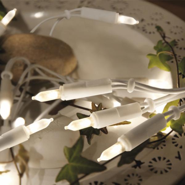 LED Lichterkette Pisello - 35 warmweiße LED - L: 5,10m - weißes Kabel - indoor
