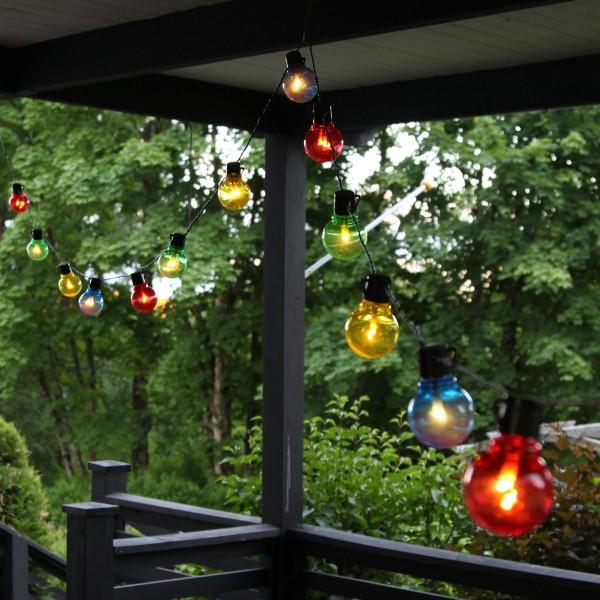 LED Partylichterkette - 16x 2 warmweiße LED - L: 4,5m - outdoor - schwarzes Kabel - bunt