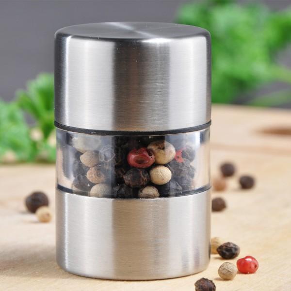 Mini Salz-/Pfeffermühle - Edelstahl - Keramikmahlwerk - H: 5,5cm