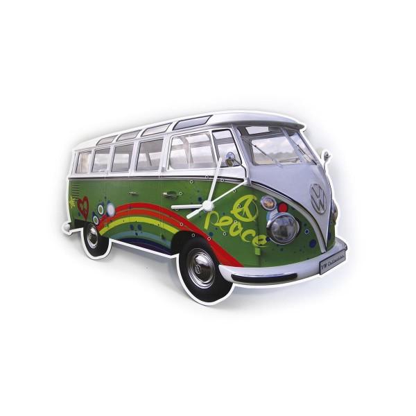 "Wanduhr VW T1 Bulli ""PEACE BULLI"" - 28x18x2,5cm - MADE IN GERMANY"