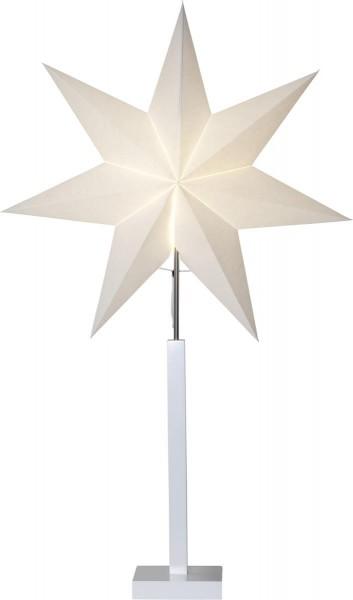 """Standleuchte Stern """"Karo"""" Material: Holz/Papier, Farbe: beige/weiss, ca. 100 x 60 cm, Vierfarb-Karton"""