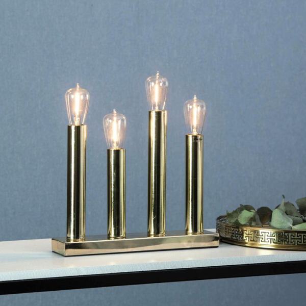 "LED Tischleuchte - Standleuchte ""Glans"" - E14 - inkl. Leuchtmittel - H: 28cm, L: 27cm - messing"