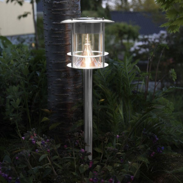 LED Solar Wegleuchte VALENCIA - Edelstahl - 6 warmweiße LED - H: 64,5 - Dämmerungssensor