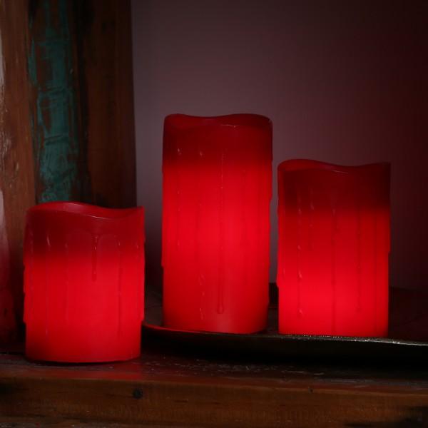 LED Stumpenkerze DRIP - Echtwachs - flackernde LED - Timer - H: 10cm - rot
