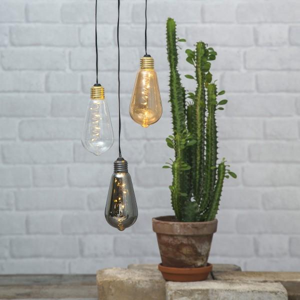 LED Dekoleuchte Glow - 5 warmweiße LED in dunkler Glühbirne - H: 13cm - D: 6cm - Batterie - Timer