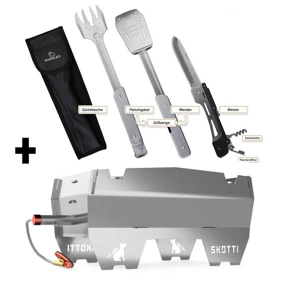 SKOTTI + GENIUS Set - Premium Kompaktgrill + Edelstahl BBQ Klappbesteck 6-in-1