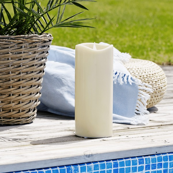 """LED Stumpenkerze """"Grande"""" - Kunststoff - flackernde warmweiße LED - H: 31cm - outdoor - beige"""