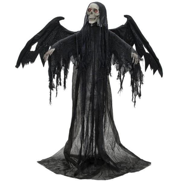 Schwarzer Todes-Engel, lebensgroße bewegte Halloween Figur, Leuchtaugen & Geräusche, 175x100x66cm