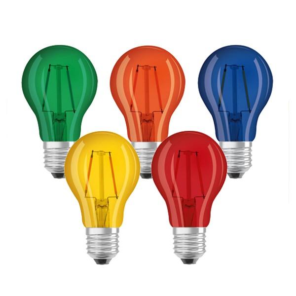 OSRAM 5er Set farbige LED Leuchtmittel - E27 - 2,5W - Tropfenform - EEK A+