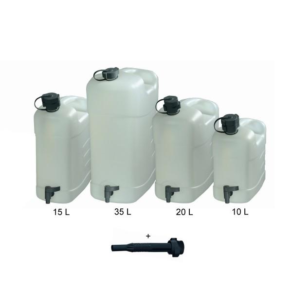 Combi Wasserkanister HPDE - 20 Liter - stabiler Kunststoff HDPE - mit Einfüllstutzen und Ausgießer
