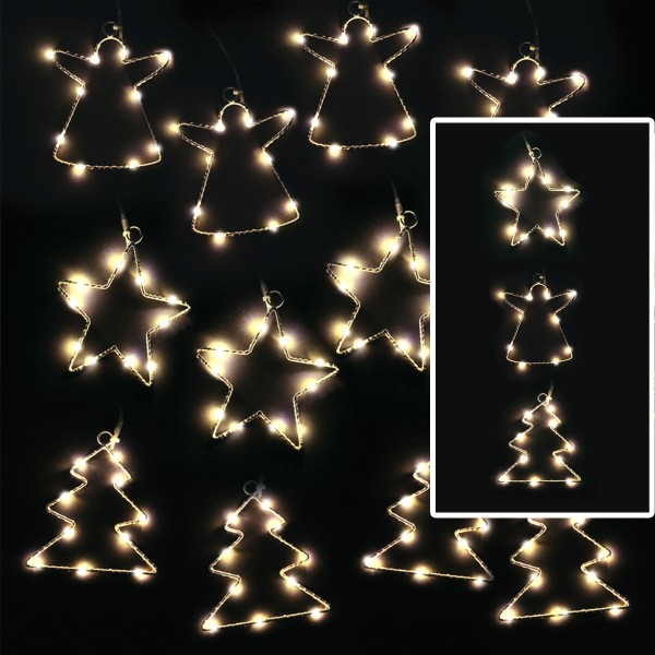 LED Lichterkette Stern - 4 Sterne mit je 10 neutralweißen LED - Timer - Batteriebetrieb - weiß